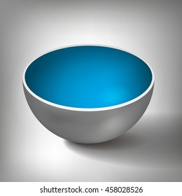 3D Vector half of a hollow sphere, open ball, inside a blue coated, abstract object for your project design
