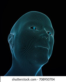 3D vector head from grid. Artificial intelligence. 3D Geometric Face Design. Biometric Illustration