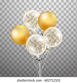 3d Vector holiday illustration bunch of Birthday Balloons isolated in the air. For Wedding, party, birthday invitation, anniversary, celebration, design.