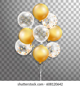 3d Vector holiday illustration Bunch of Glossy gold, white transparent with confetti  balloons. Party decorations for birthday, anniversary, celebration, event design,wedding.