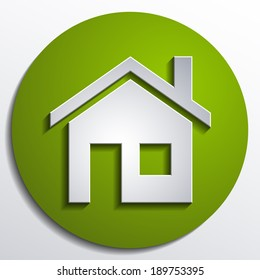 3d vector home icon design with isolated on green background button