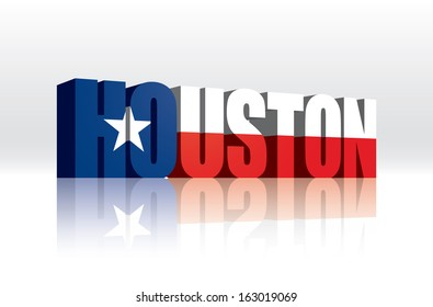 3D Vector Houston (Texas) Word Text Flag