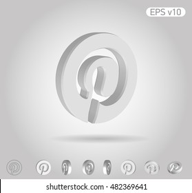 3d Vector Icon Of Pinterest On White Background With Shadow. Include  Original View And Different