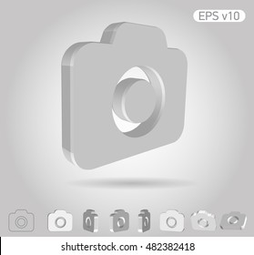 3d vector icon of symbol on white background with shadow. Include original view and different angles.