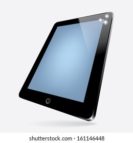 3d vector illustration of black computer tablet with blank screen. vector. eps10