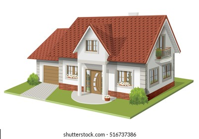 3d vector illustration of house with garage