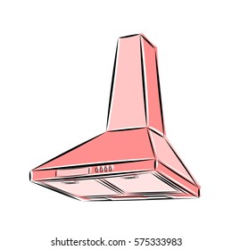 3d vector illustration of kitchen hood in pink and shades on a white background in the style of a sketch