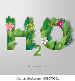 3d vector illustration. Lettering H2O in style of paper art. Paper leaves and flowers.