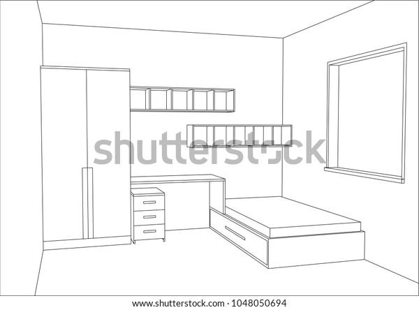 3d Vector Illustration Modern Kids Bedroom Stock Vector Royalty Free 1048050694