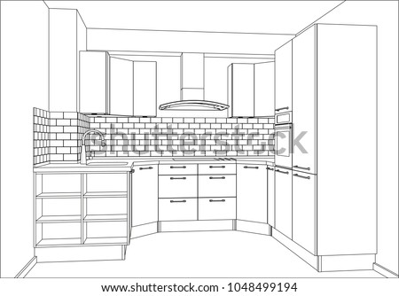 3 D Vector Illustration Modern Kitchen Design Stock Vector Royalty