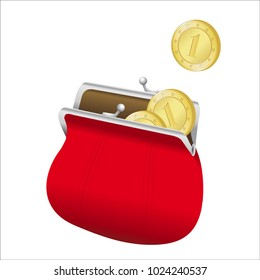 A 3D vector illustration on a white background of an open red wallet from which some gold coins come out.