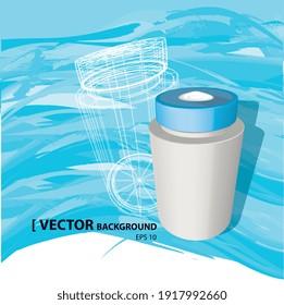 Illustration vectorielle 3d, marmite sur fond bleu océan