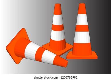 3D Vector Illustration, traffic cones