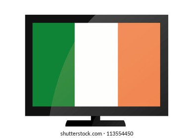 3d Vector Illustration of a TV with the Flag of Ireland