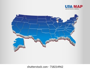 3D Vector Illustration of United States of America / USA Map