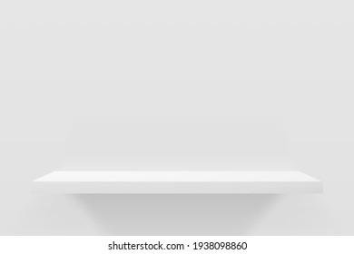 3d vector illustration of white empty shelf on wall. Minimal mockup design for product presentation.