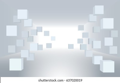 3d vector illustration. White interior of not existing building with flying cubes in perspective. The subject of delivery, data transmission, relocation, restructuring.