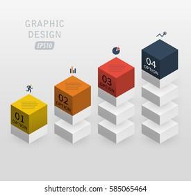 3d vector infographics column data