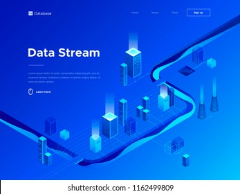 3d vector isometric illustration of big data analytics and technologies. Abstract flow of information. Creative landing page design template