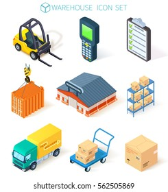 3D vector  isometric warehouse,transportation, logistic and delivery icon set isolated on white