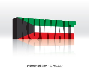 3D Vector Kuwait Word Text Flag