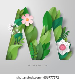 3d vector letter M with leaves and flowers. Realistic shadows.