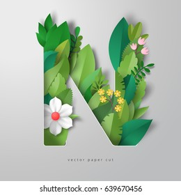 3d vector letter N with leaves and flowers. Realistic shadows.