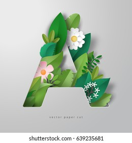 3d vector letter A in style of paper art. Design of leaves and flowers.