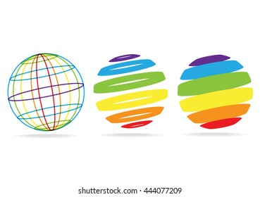 3D vector lines balls isolated on white background. rainbow dimensional earth globe icons.