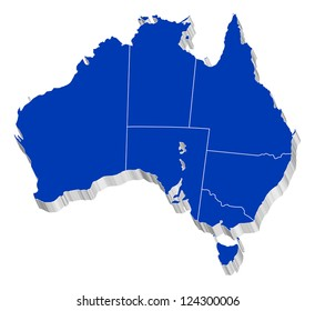 3D vector map of Australia Each State is it's own shape and can be colored to your own preference.