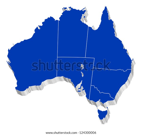 Australia Map States.3d Vector Map Australia Each State Stock Vector Royalty Free 124300006