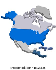 3D vector map of Northern America