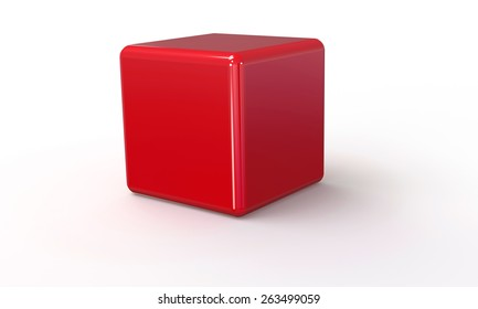 3D vector model of a red Cube. isolated on white. The cube has a shadow.