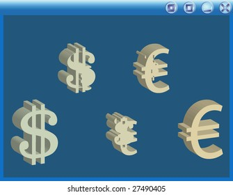 3d vector money signs in window. Dollar to euro.