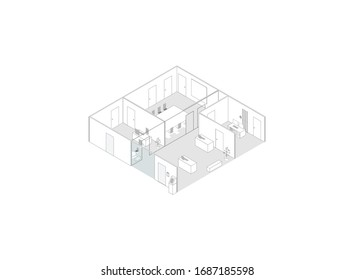 3D vector of an office floor in a building