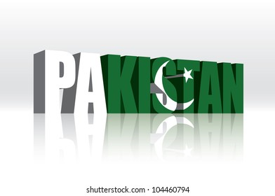 3D Vector Pakistan Word Text Flag
