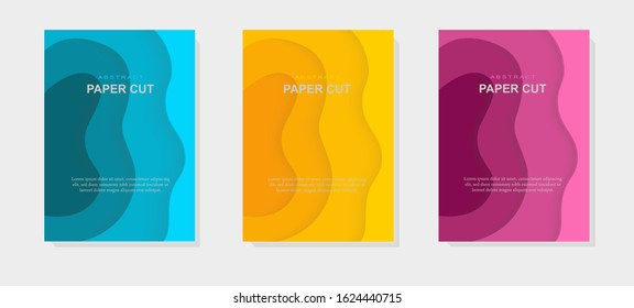 3d vector Paper cut art, abstract vertical banner,ble, yellow, pink colors. For your flyer, poster, brochure, business presentation and more