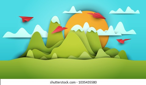 3d vector paper cut green landscape with mountains, airplanes, clouds . Cartoon art illustration in minimalistic craft carving style. Modern layout colorful concept for background cover, poster, card.