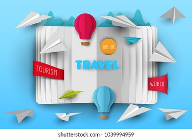 3d vector paper cut open book with clouds, airplane and balloon . Cartoon art illustration in minimalistic craft carving style. Modern layout colorful concept for background cover, poster, card.