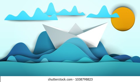 3d vector paper cut water waves with boat, sun clouds. Cartoon art illustration in minimalistic craft carving style. Modern layout colorful concept for background cover, poster, card.