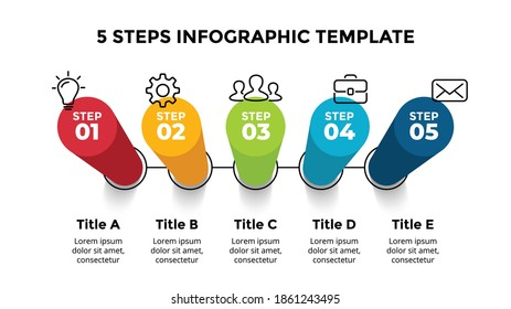 3D Vector Perspective Infographic. Presentation slide template. 5 step options. Chart concept. Colorful creative info graphic design.