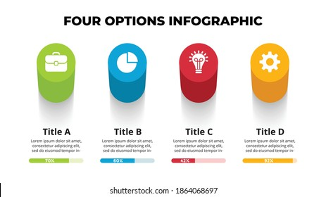 3D Vector Perspective Infographic. Presentation slide template. 4 step options. Chart concept. View from above.