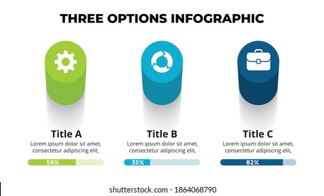 3D Vector Perspective Infographic. Presentation slide template. 3 step options. Chart concept. Colorful creative info graphic design.