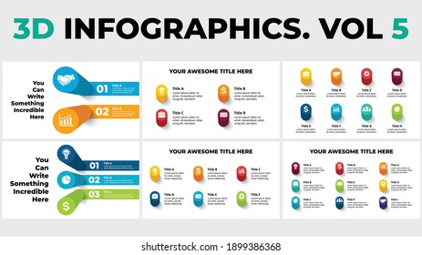 3D Vector Perspective Infographics Pack Vol 5. Presentation slide template. Circle columns with shadows.