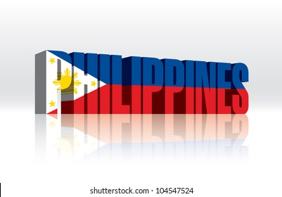 3D Vector Philippines Word Text Flag