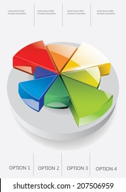 3d vector pie chart on the blue background. Infographic element. Vector illustration