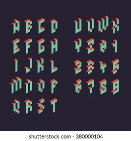3d vector pixel alphabet and numbers