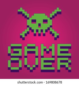 3d vector pixel skull with game over text