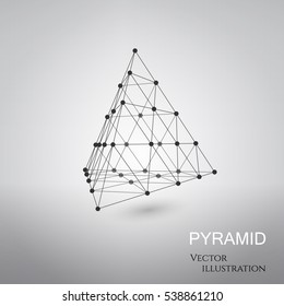 3D vector pyramid. Wireframe architecture for technical, science concept design.