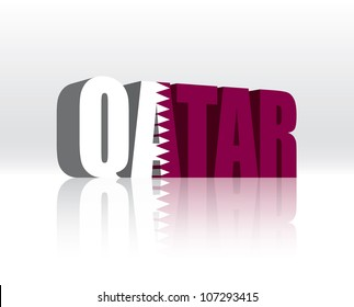 3D Vector Qatar Word Text Flag